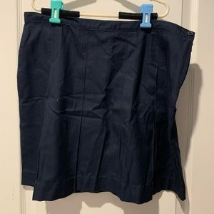 Land's End Navy Pleated Skirt